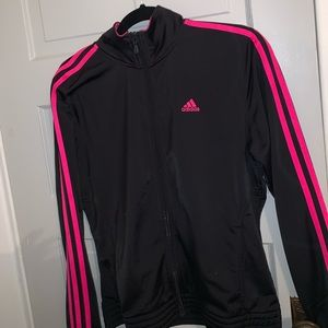 Pink and black adidas zip up